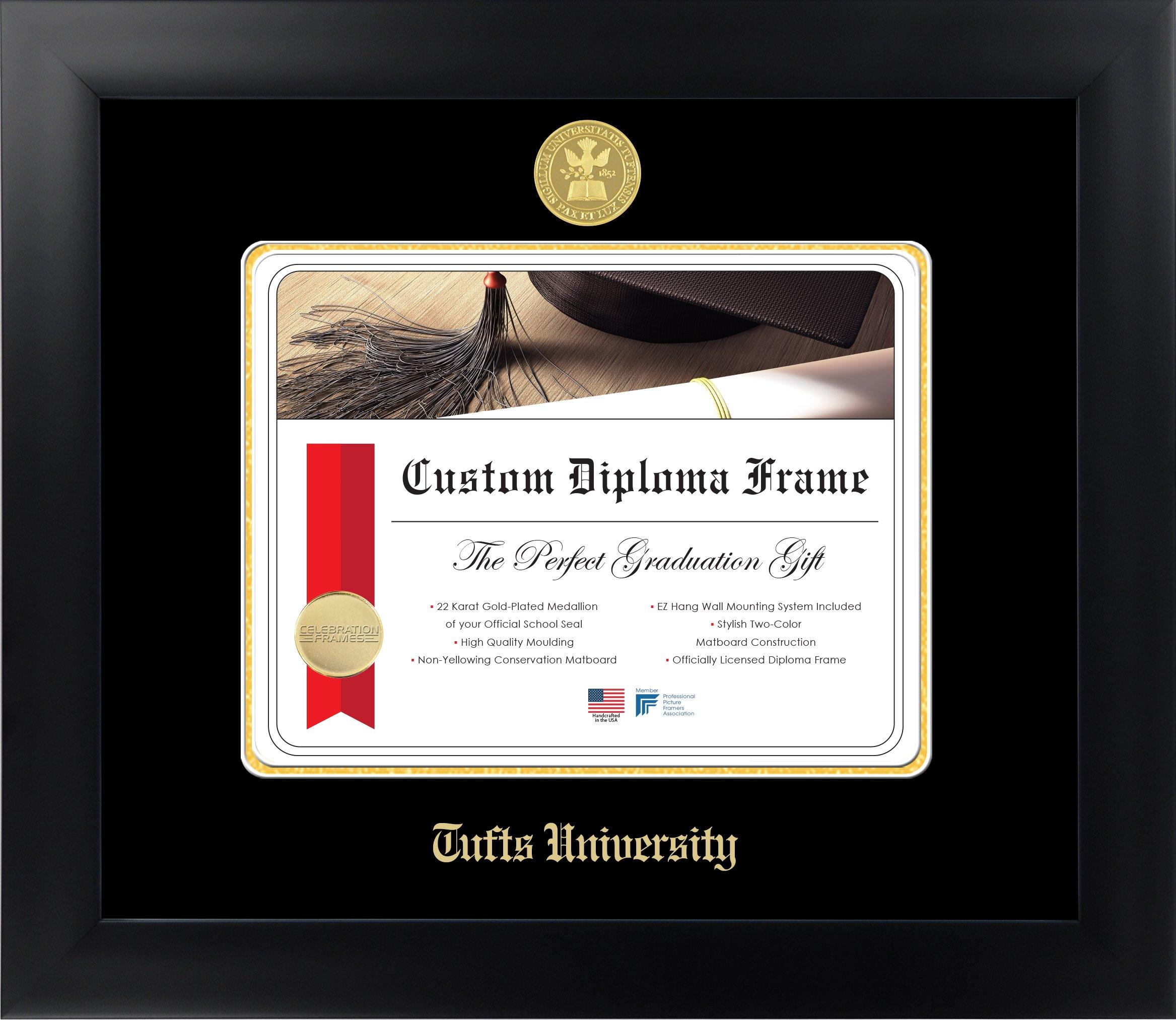 Tufts University 8½ x 11 Matte Black Finish Infinity Diploma Frame by Celebration Frames