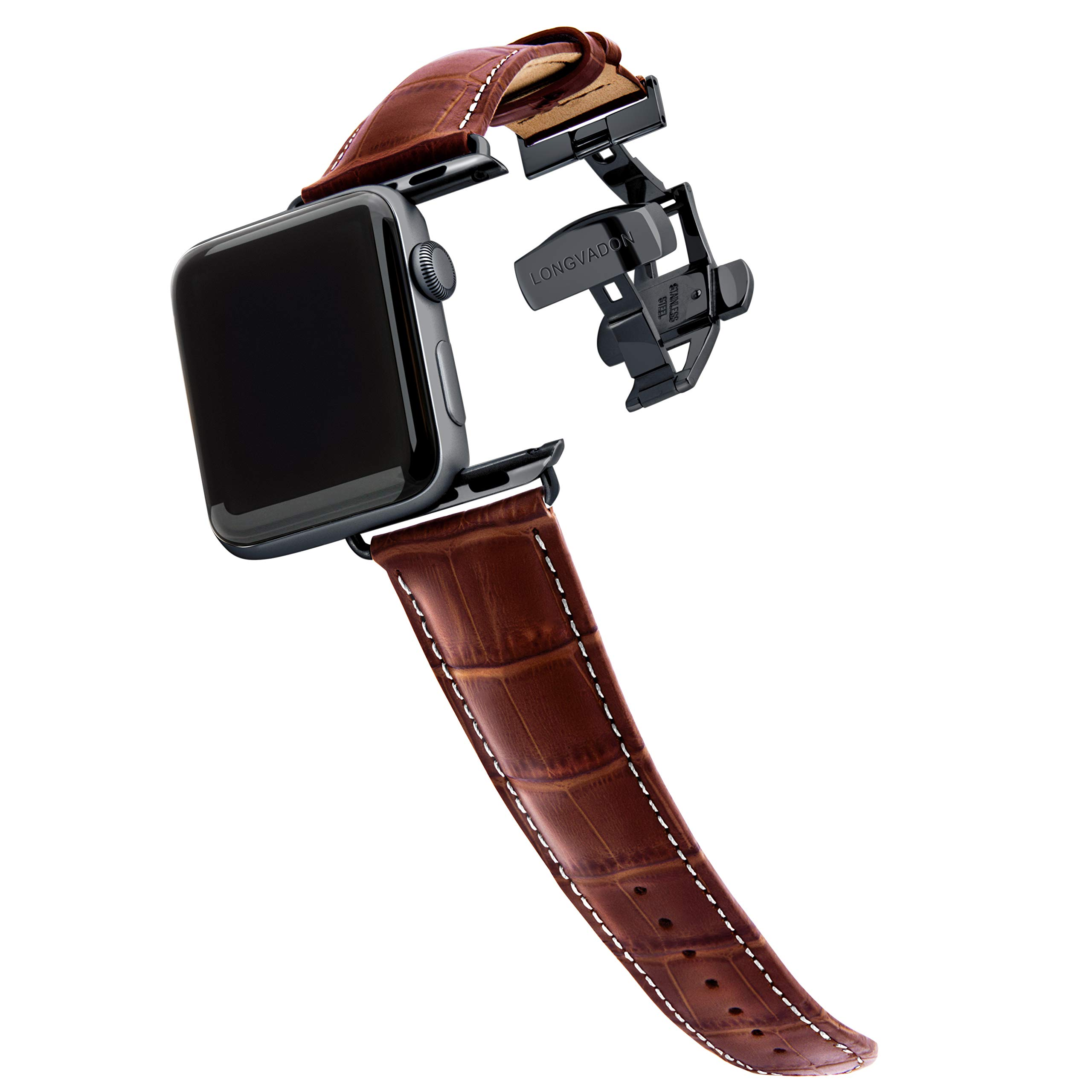 Longvadon Men's Watch Band - Compatible with Apple Watch Series 1, 2, 3 (42mm) & Series 4 (44mm) - Genuine Top Grain Leather - Caiman Series, Mahogany Brown & White Stitching with Black Details