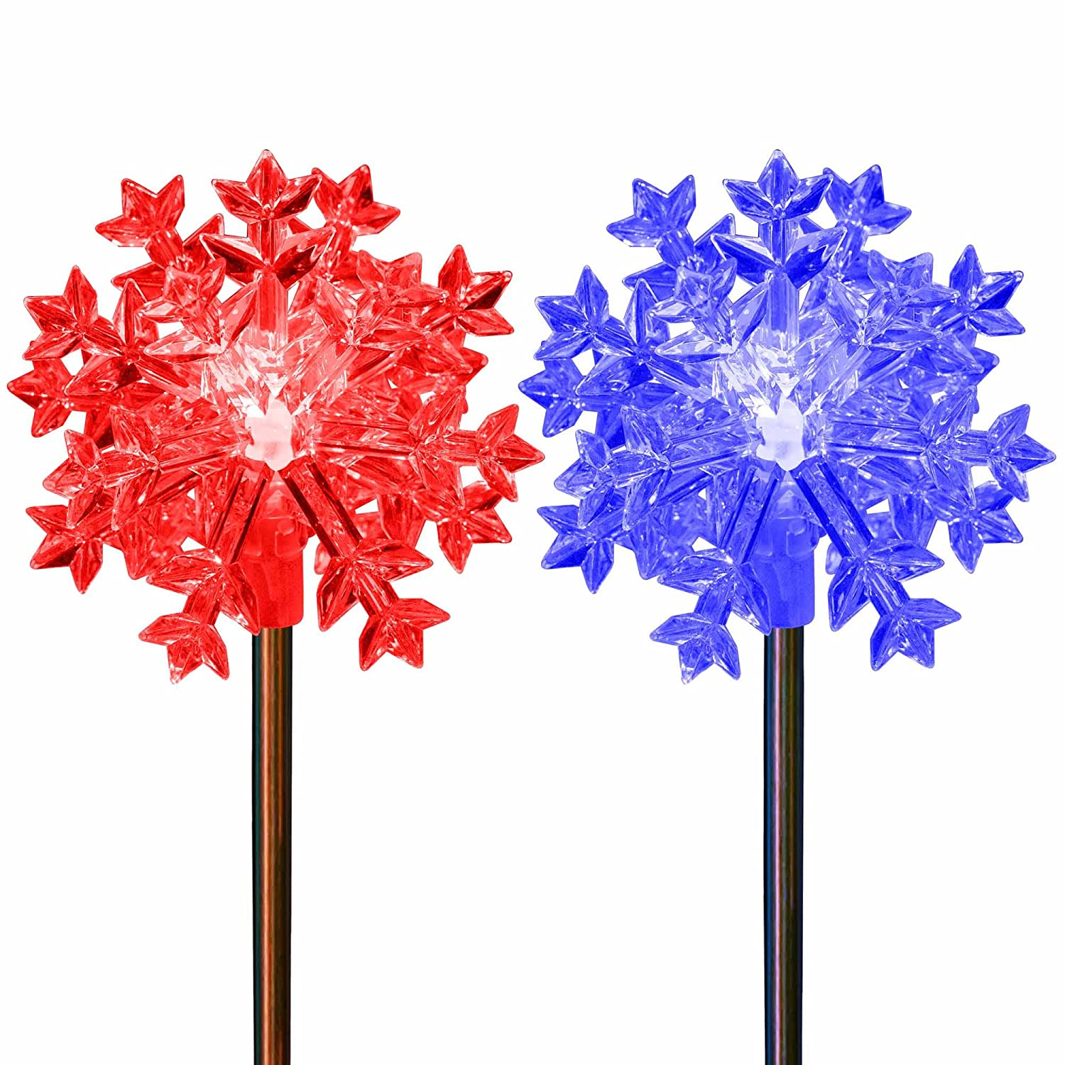 Amazon.com: Christmas Decoration Snowflakes Color Changing Solar Powered  Holiday Garden Stake Lights Outdoor Decoration Lawn Patio Deck Yard Decor:  Garden U0026 ...