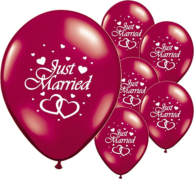 "PA 40 JUST MARRIED RED 12/"" HELIUM QUALITY PEARLISED WEDDING BALLOONS"