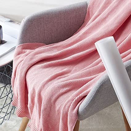 Superbe Cotton Cable Knit Throw Blanket Solid Color TV Blanket Girls Pink Throws  For Bedroom Sofa Couch