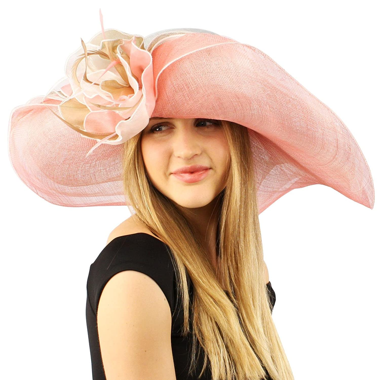Edwardian Hats, Titanic Hats, Tea Party Hats Summer Kentucky Derby Side Flip 7 Brim Layer Floppy Flower Feathers Hat $29.89 AT vintagedancer.com