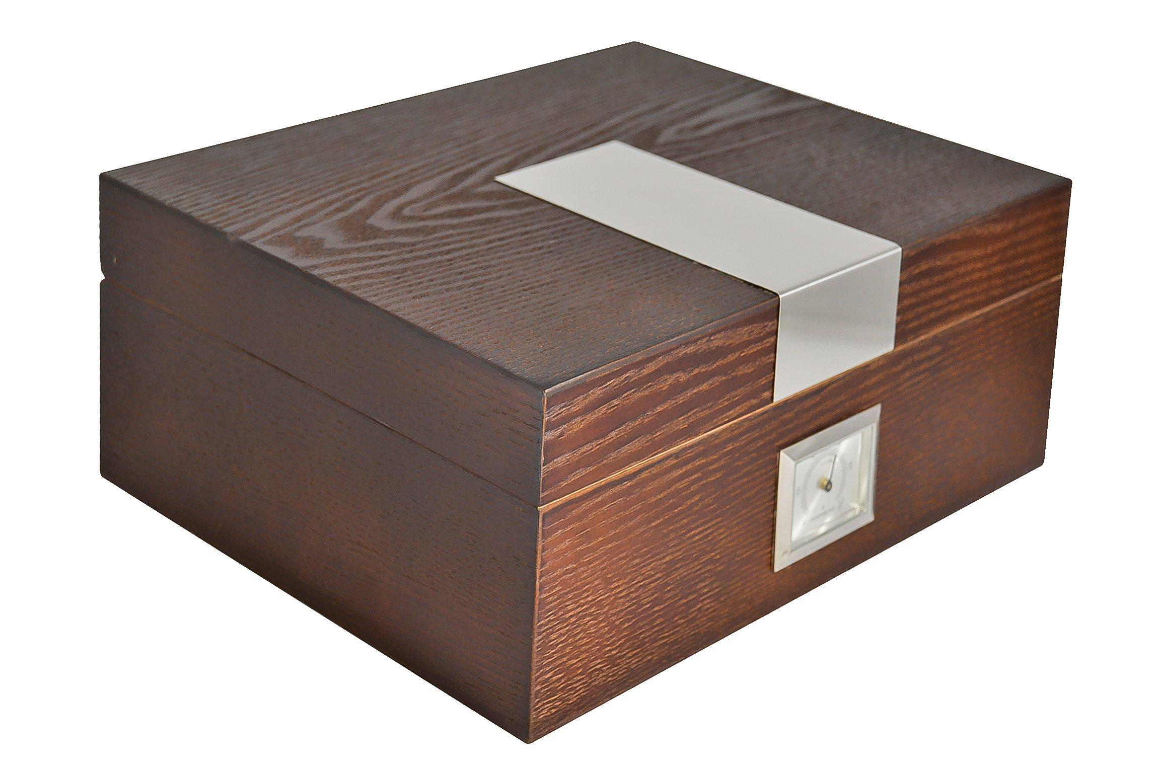 La Madera Cubana Humidor Cedar and Ash Tree Cigar Humidor with Humidifier & Hygrometer Cigars Box Set, Durable & Elegant Wood Design, Functional High-End Interior Perfect for 30-50 Cigars