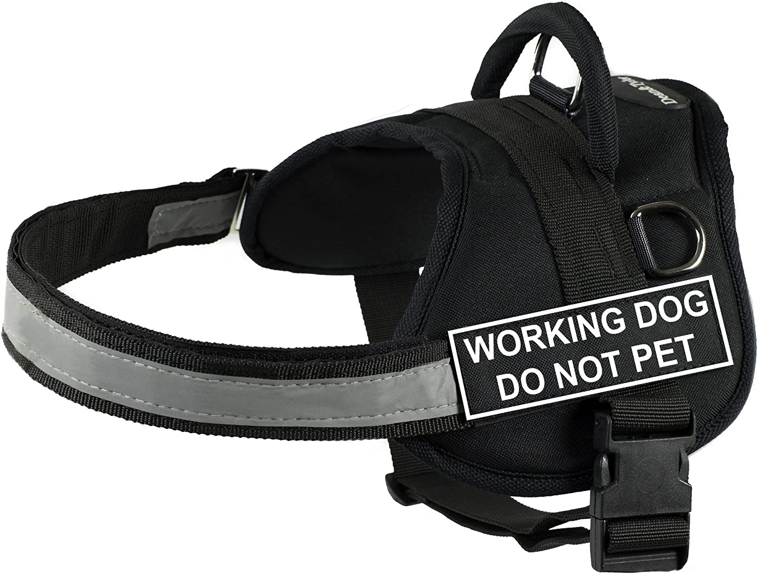 DT Fashion Works Harness Working Dog Do Not F Black Large - White Pet New Shipping Free Shipping