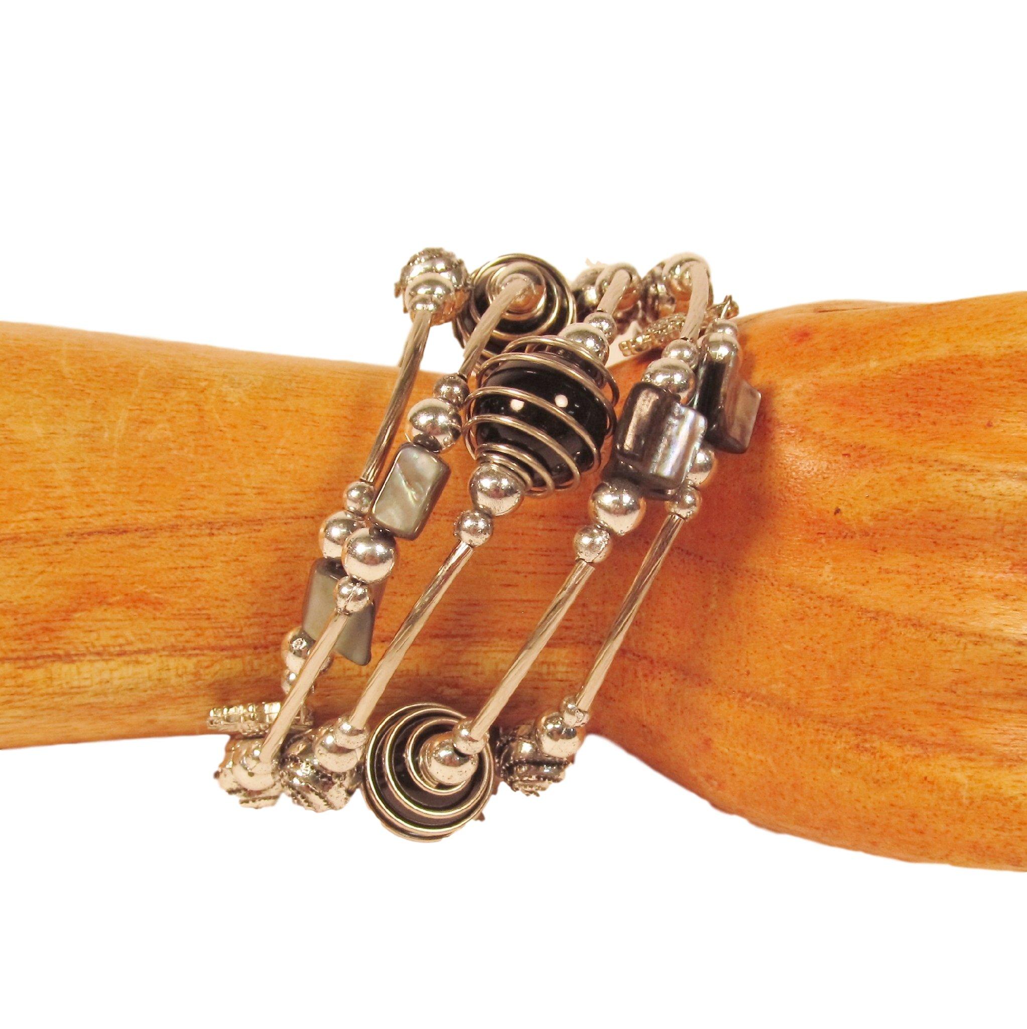 Black Glass Pearl Shell Beaded Charm Bauble Wrap Coil Bracelet Bali Bay Trading Co