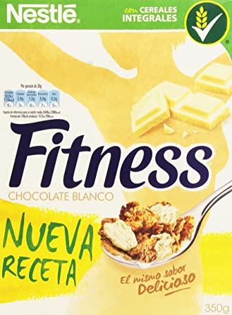 Fitness Copos de trigo integral y arroz tostados (el 28.5% recubiertos de chocolate blanco