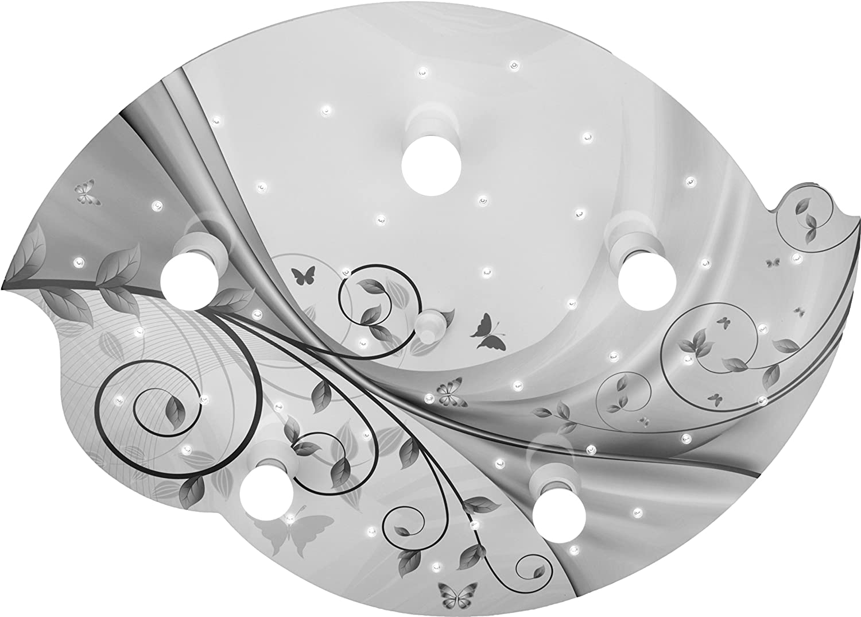 Elobra Deckenleuchte, Holz, 40 W, Silber Grau, 75 x 50 x 8 cm [Energieklasse A+] 130346