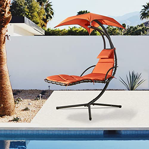 Cloud Mountain Hanging Chaise Lounger Chair Outdoor Swing Hammock Chair Arc Stand Porch Patio Chair Floating Chaise Chair with Canopy Umbrella and Pillow – Orange
