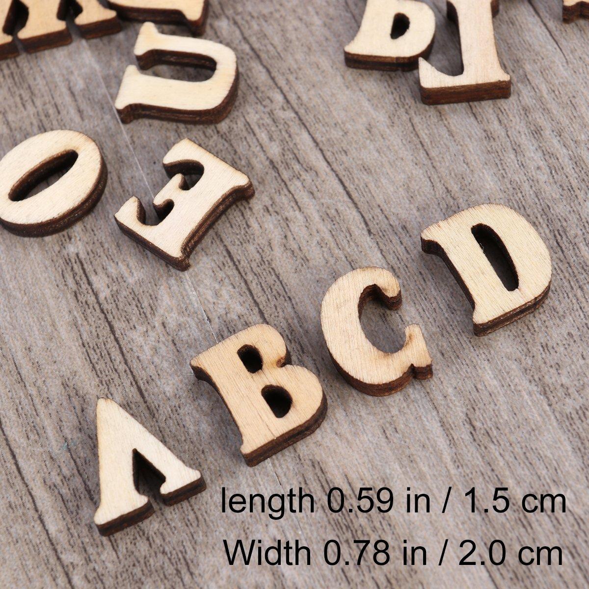 Healifty 100 Piezas Peque/ñas Letras Del Alfabeto de Madera Letras de Artesan/ía de Madera Rebanadas de Madera Herramientas Educativas para Scrapbooking Diy Craft 15Mm