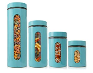 Venoly Dry Food Storage Containers with Lids (4 Piece Set) Airtight Freshness Seal, See-Through Glass Canister | BPA-Free, Food-Grade Safe | Kitchen Pantry & Countertop Storage (Turquoise)