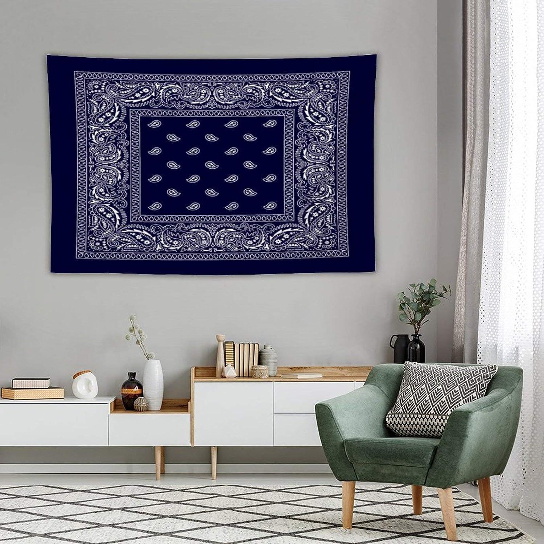 Tapestry Wall Decor Bandana Navy Blue Southwestern Tapestry For Bedroom Dorm Bathroom Home Hanging Blanket Line Art Living Room Decoration 60''×80''