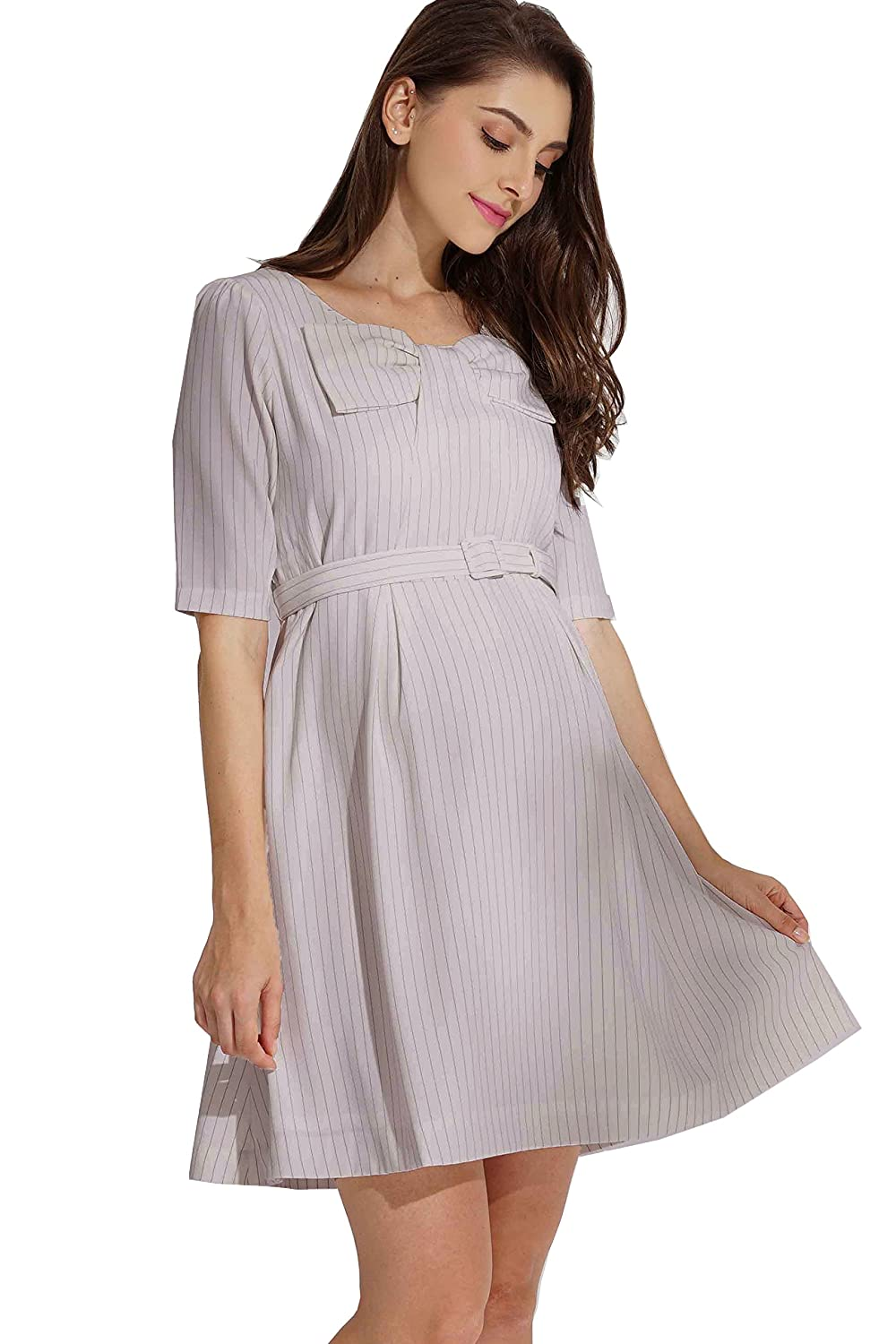 Sweet Mommy Maternity and Nursing Bow Top Belted Dress Sweet Mommy Co. Ltd so5144