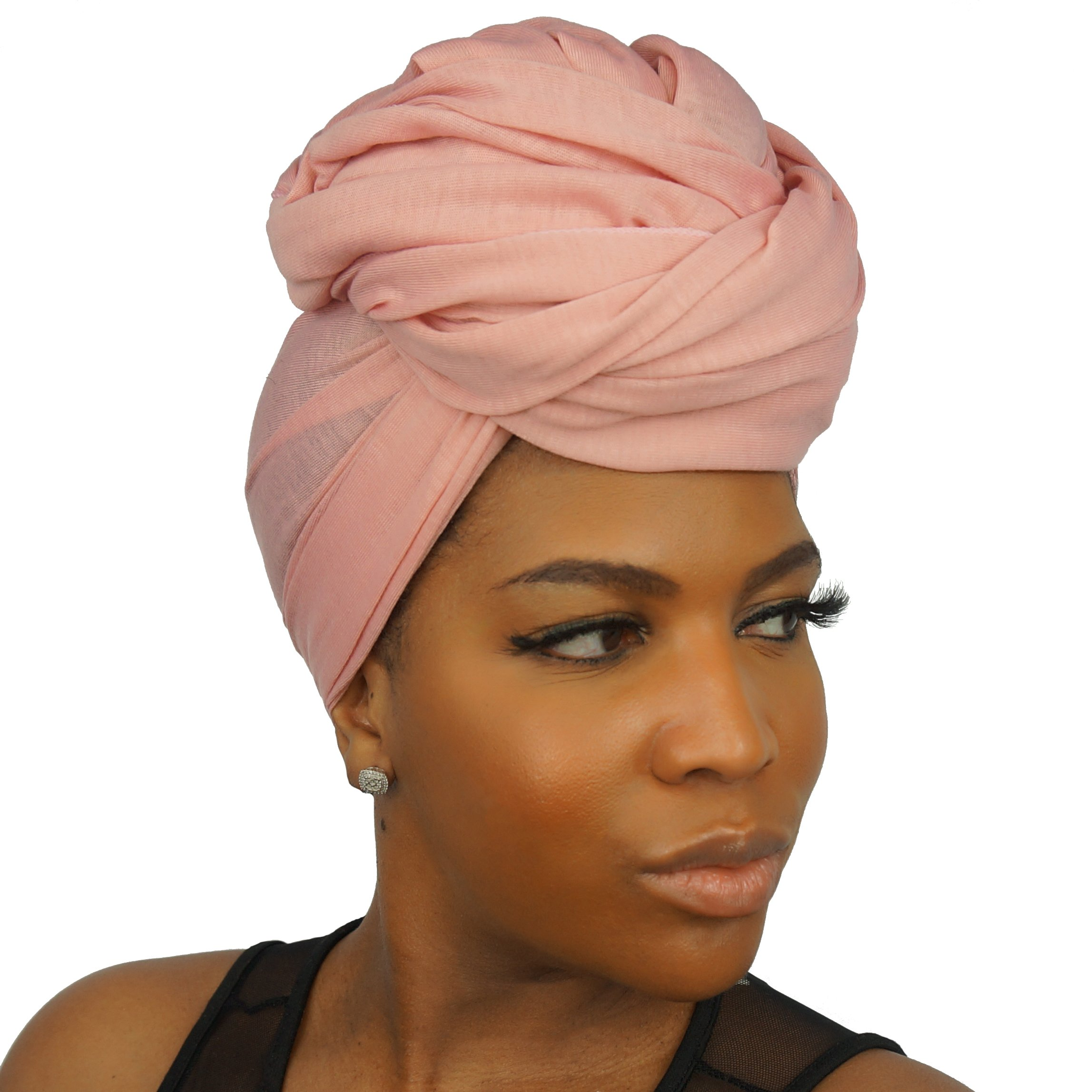 The Urban Turbanista Stretch Jersey Knit Head Wrap - Long Headwrap Scarf Tie by (70'' x 32'', Coral Pink) by The Urban Turbanista (Image #2)