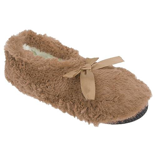 Zapatillas de Estar por casa de Pelo y Detalle de Lazo para Mujer (37/41 EU/Beige): Amazon.es: Zapatos y complementos