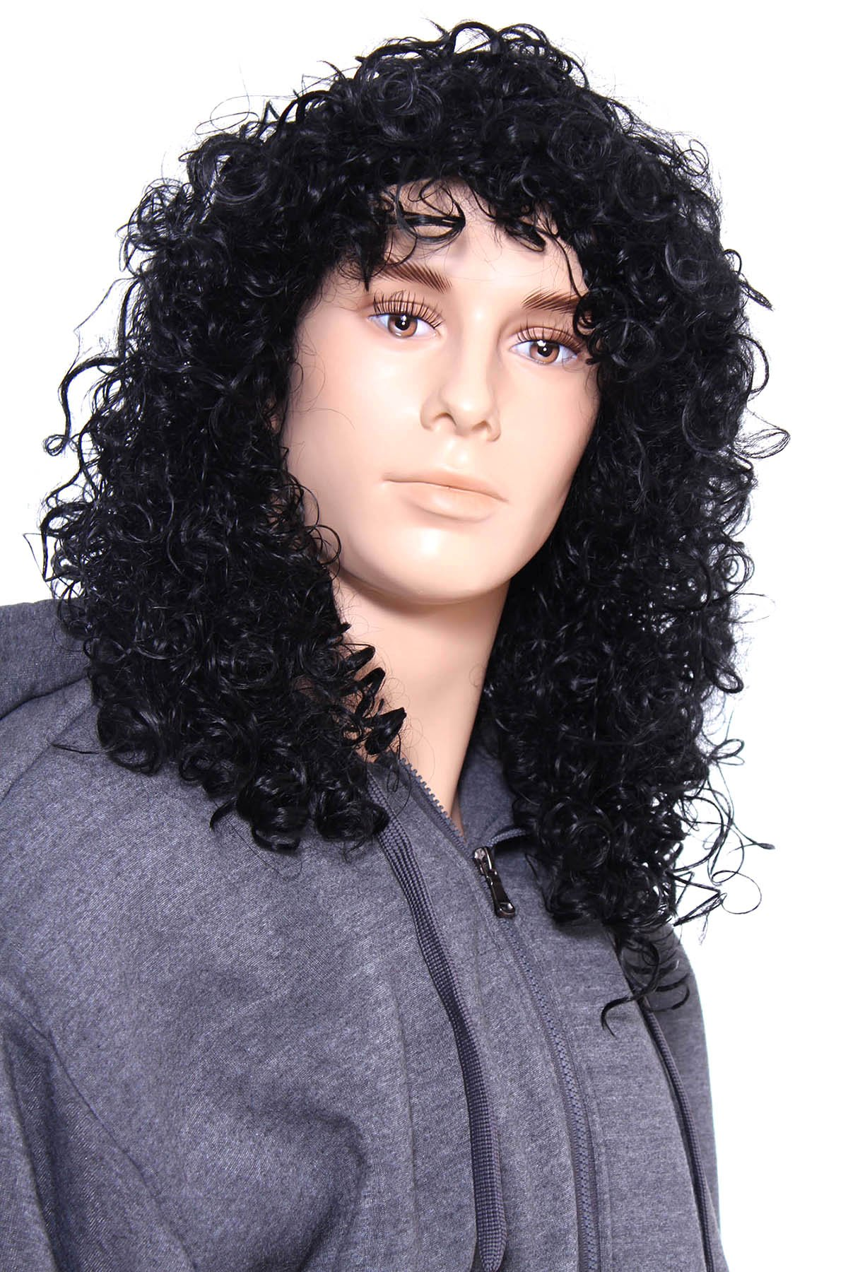 Toppers Deluxe Unisex Long Curly Rocker Wig for Costumes Cosplay and Halloween Jet Black