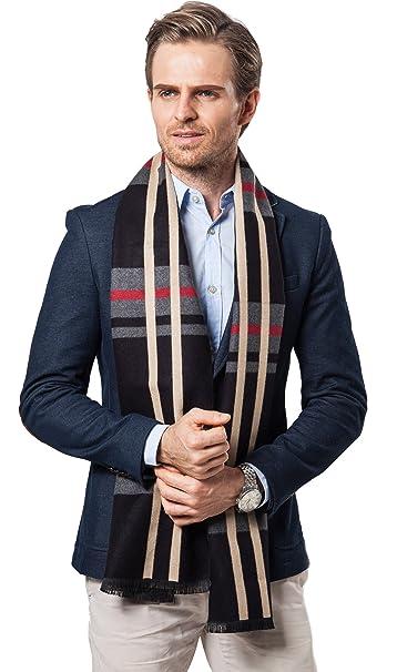 db473771ee18 Echarpe Châle Hiver Homme Chaud Homme Hiver Longue en Cachemire Franges  Epaisse Doux 180 30cm (A)  Amazon.fr  Vêtements et accessoires