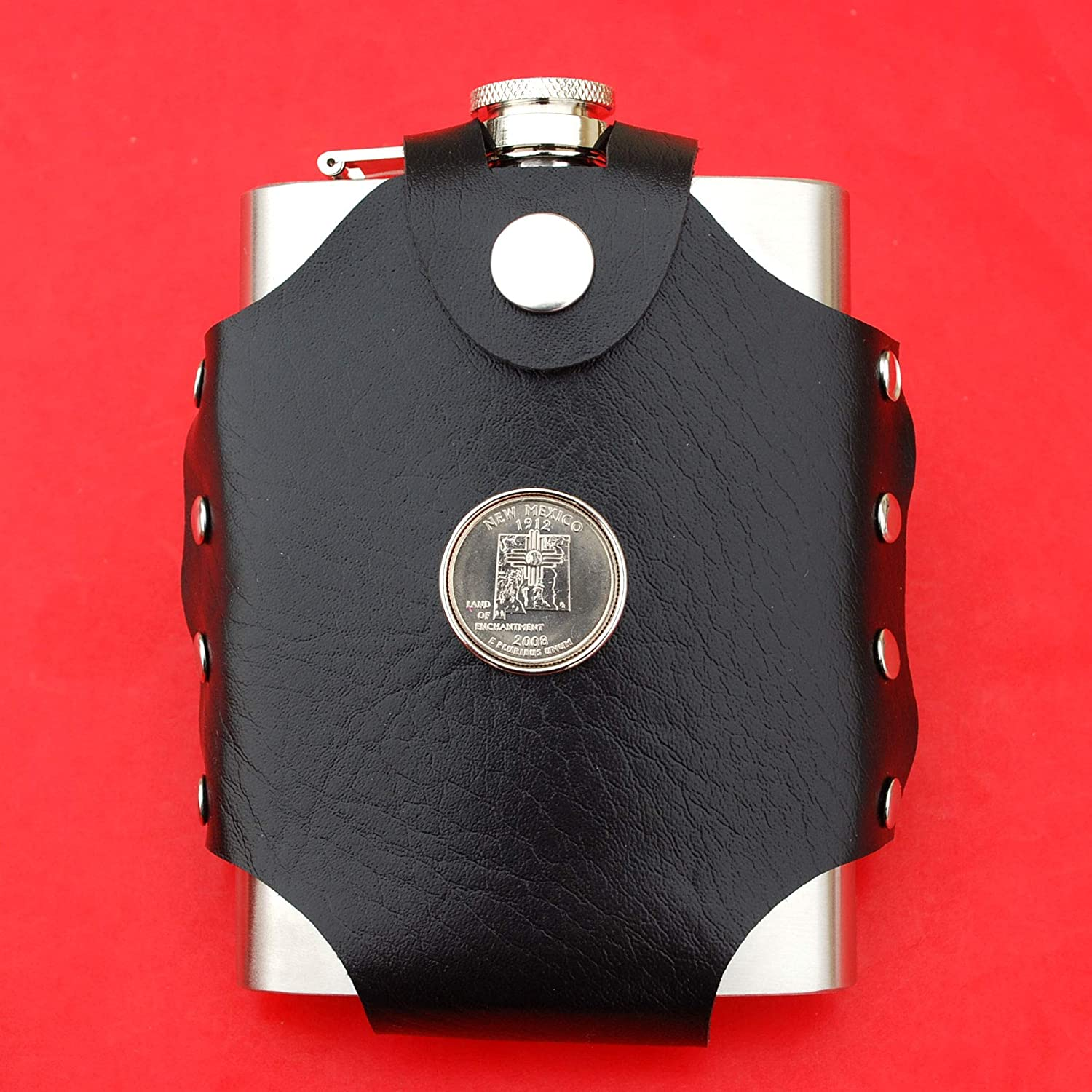 US 2008 New Mexico State Quarter BU Uncirculated Coin Leak Proof Black PU Leather Wrapped Stainless Steel 8 Oz Hip Flask Water Wine etc. Liquor