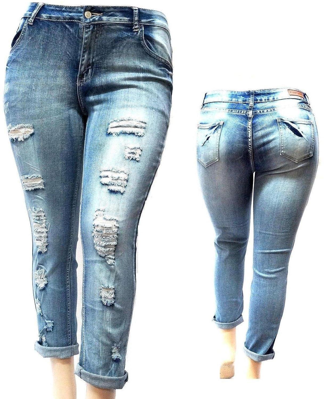 1826 Jeans Davido Womens Plus Size Ripped Blue Denim Roll up Skinny  Distressed Jeans Pants b70e5d202