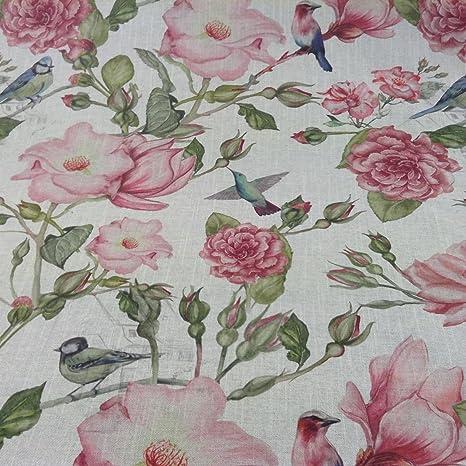 Nirvana Bird Garden Linen//Rose Pink Cotton Curtain//Craft Fabric