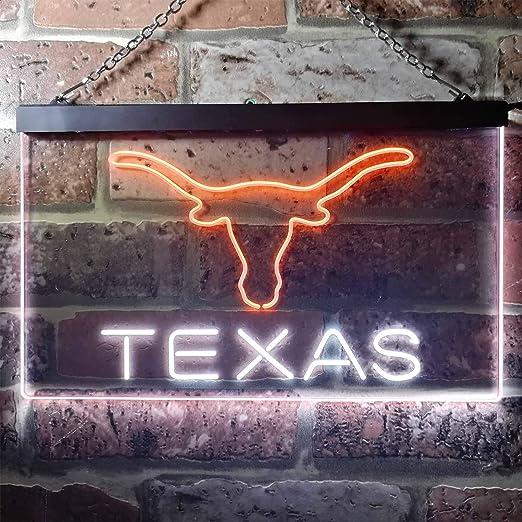 Longhorns lighted sign Hookem horns LED Man cave Longhorns on Texas