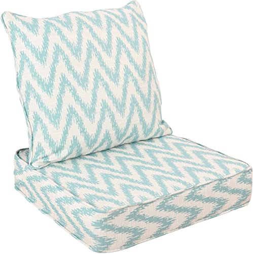 WOTU Outdoor/Indoor Deep Seat Chair Cushions Set ,Deep Seat and Comfortable Back Cushion Large Size Replacement Cushion