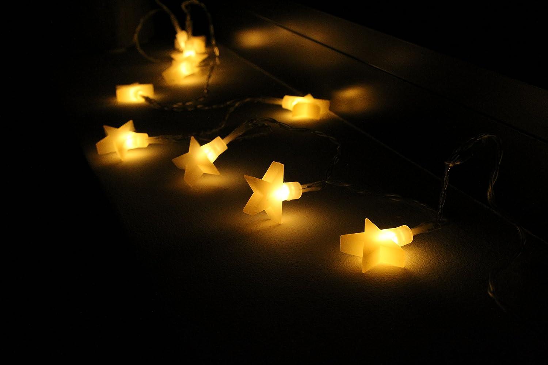LED bunte 150 cm Lichterkette mit Batterie Sterne Stern Lichtvorhang ...