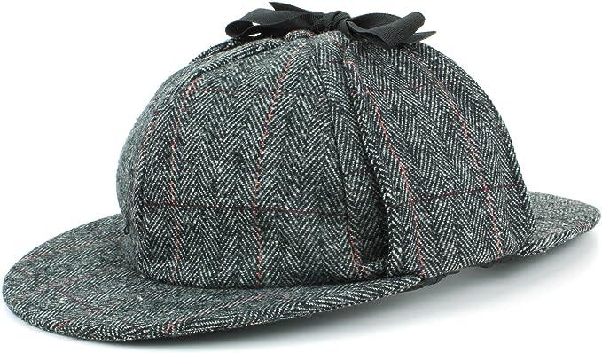 Hawkins Collection  Deerstalker Sherlock Holmes Wool Black Cap Hat-58-59-60cm