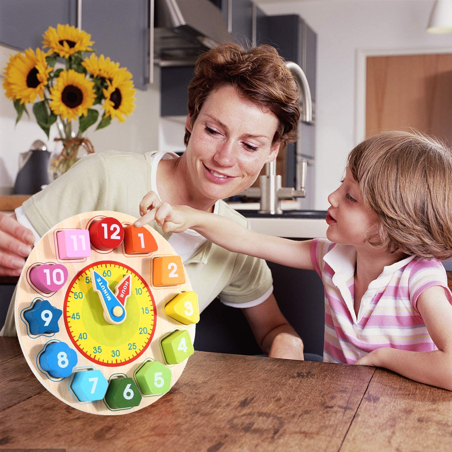 Jamohom Wooden Shape Sorting Clock Teaching Time Number Blocks Early Learning Educational Toy Gifts for Kids