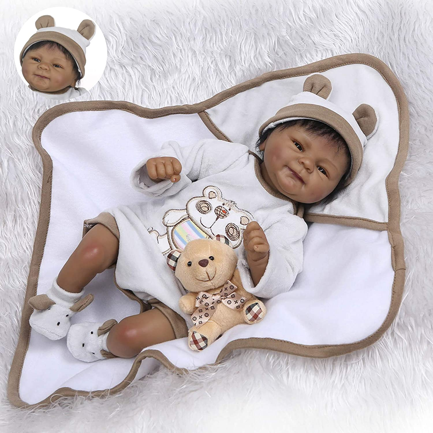 Zero Pam 18 African American Handmade Black Skin Truly Alive Weighted Poseable Silicone Reborn Baby Doll with Bear Toy and Clothes