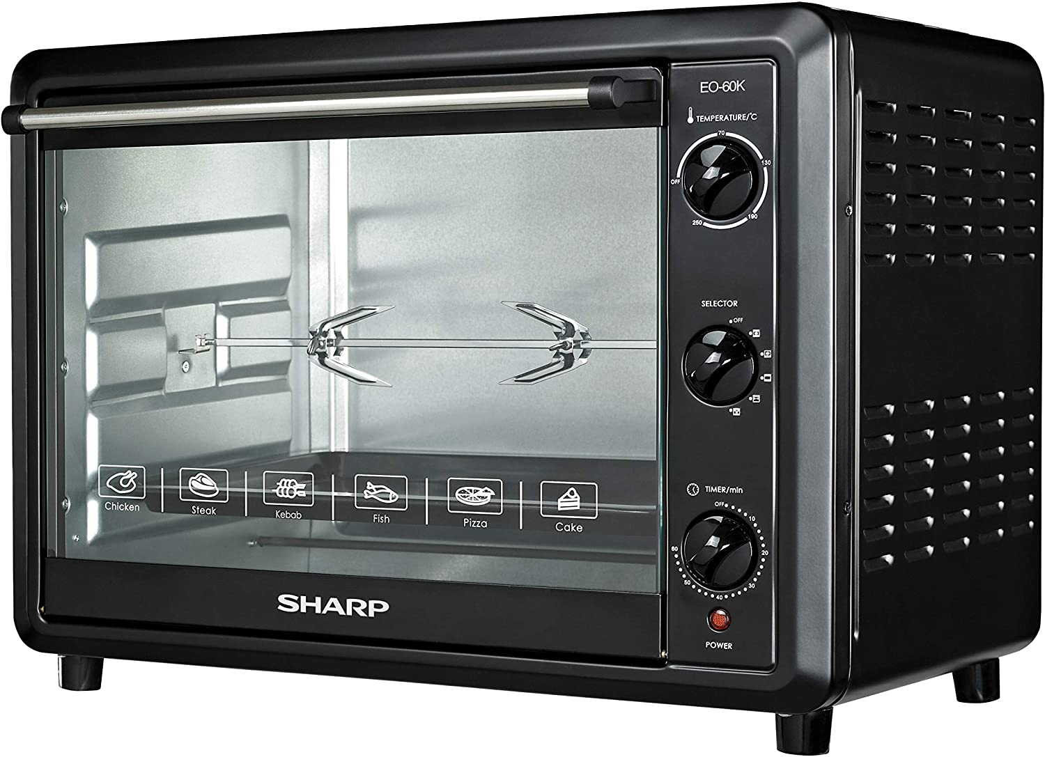 Sharp EO-60K-3 2000W Electric Toaster Oven with Convection Function, 60-Liter, 220V (Non-USA Compliant)