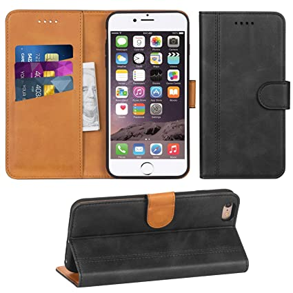 Adicase iPhone 6 Plus Hülle Leder Wallet Tasche Flip Case Handyhülle Schutzhülle für Apple iPhone 6 Plus / 6S Plus 5,5 Zoll (
