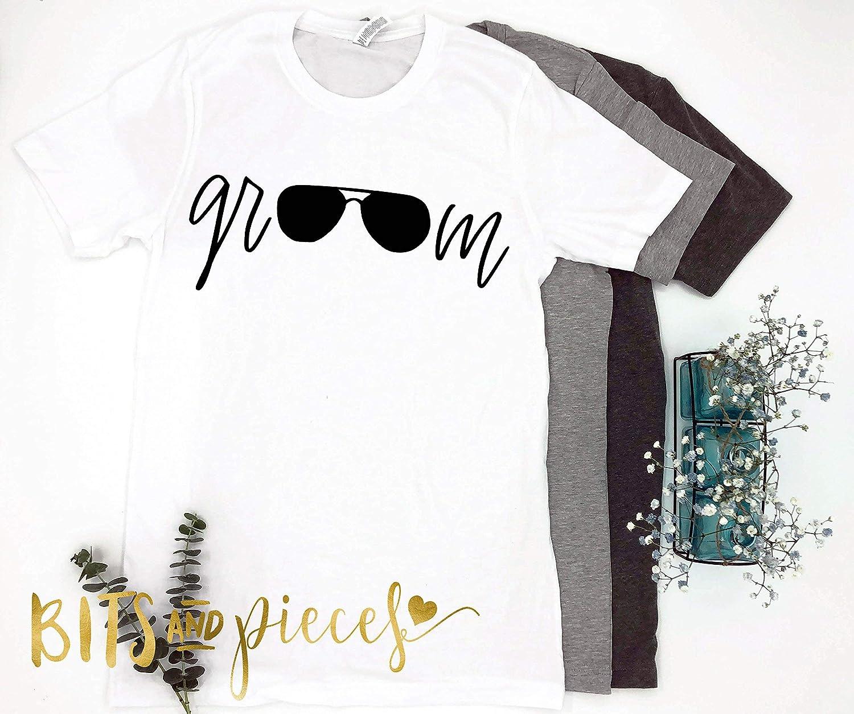 43b09061 Amazon.com: Groom Squad Aviator Sunglasses T-shirt - Bachelor Party Shirts  - Groomsmen Shirts - Wedding Party Shirts - Groomsman - Honeymoon shirt:  Handmade
