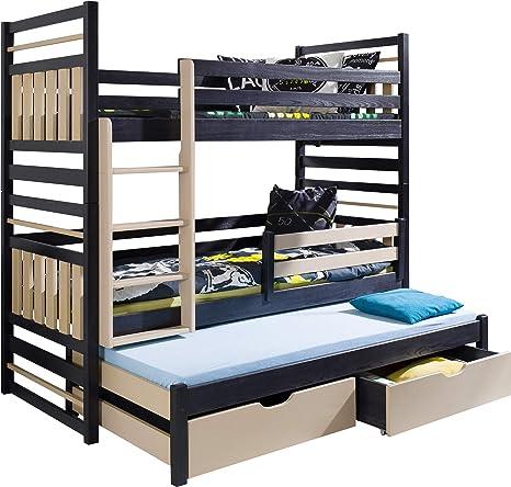 Furniturebyjdm 3 Tier Bunk Bed Hipolit Solid Pine With Mattresses And Drawers Amazon De Kuche Haushalt
