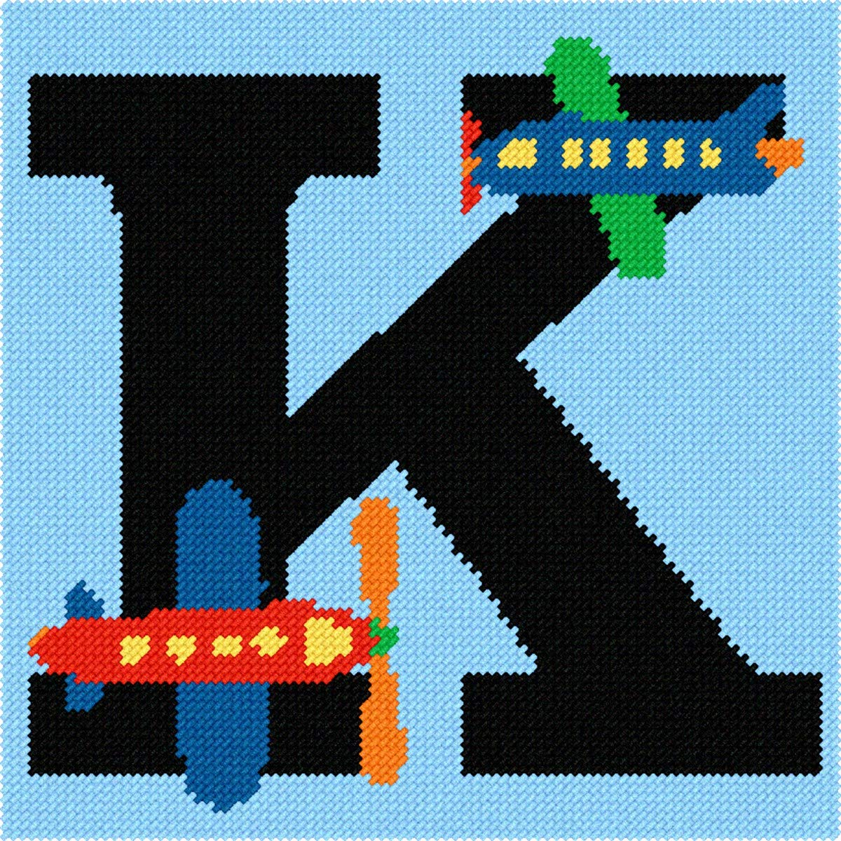 Pepita Letter K Airplane Needlepoint Kit Pepita Needlepoint