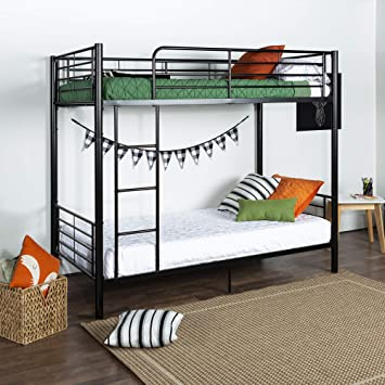 low priced c7e00 39c9b Walker Edison Twin-Over-Twin Bunk Bed, Black