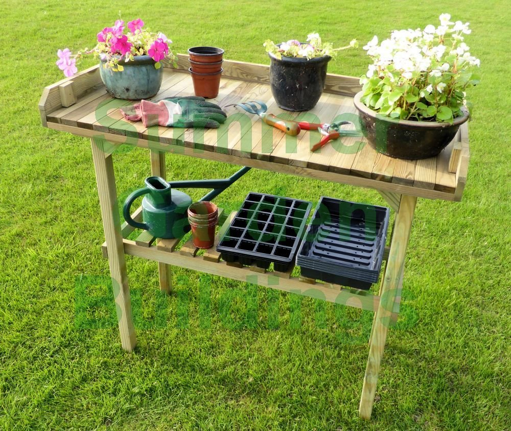 Summer Garden Buildings 2 Tier Wooden Shelf Potting Bench with Greenhouse Storage and Plant Staging Table - Natural