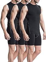 Neleus Men's 3 Pack Sport Compression Under Base Layer Athletic Muscle Tank Top