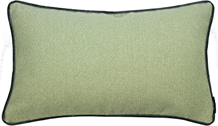 McAlister Textiles Herringbone Boutique Sage Green + Grey 50x30cm Cushion Cover Soft Brushed Textured Red Elegant with Velvet Piping Throw Pillow for