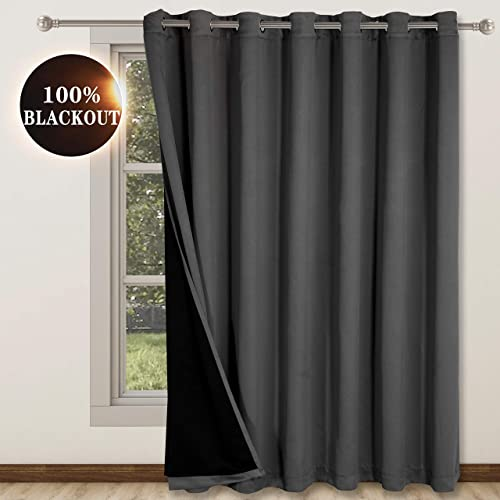 WONTEX 100 Blackout Curtains for Bedroom Living Room Patio, 100 inch Wide x 108 inch Long, Grey Thermal Insulated and Light Blocking Room Divider Curtains, Wide Width Grommet Curtain Panel