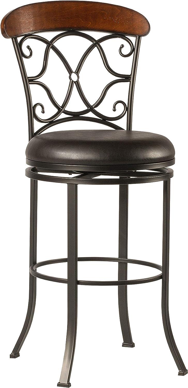 Hillsdale Furniture Dundee Swivel Bar Stool, Dark Coffee