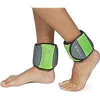 Gaiam pesas de tobillo para entrenamiento de fuerza para mujeres y hombres con correas ajustables – caminar, correr, pilates, yoga, baile, aeróbicos, ejercicios de cardio (juego de 5 libras, dos pesos de 2.5 libras)