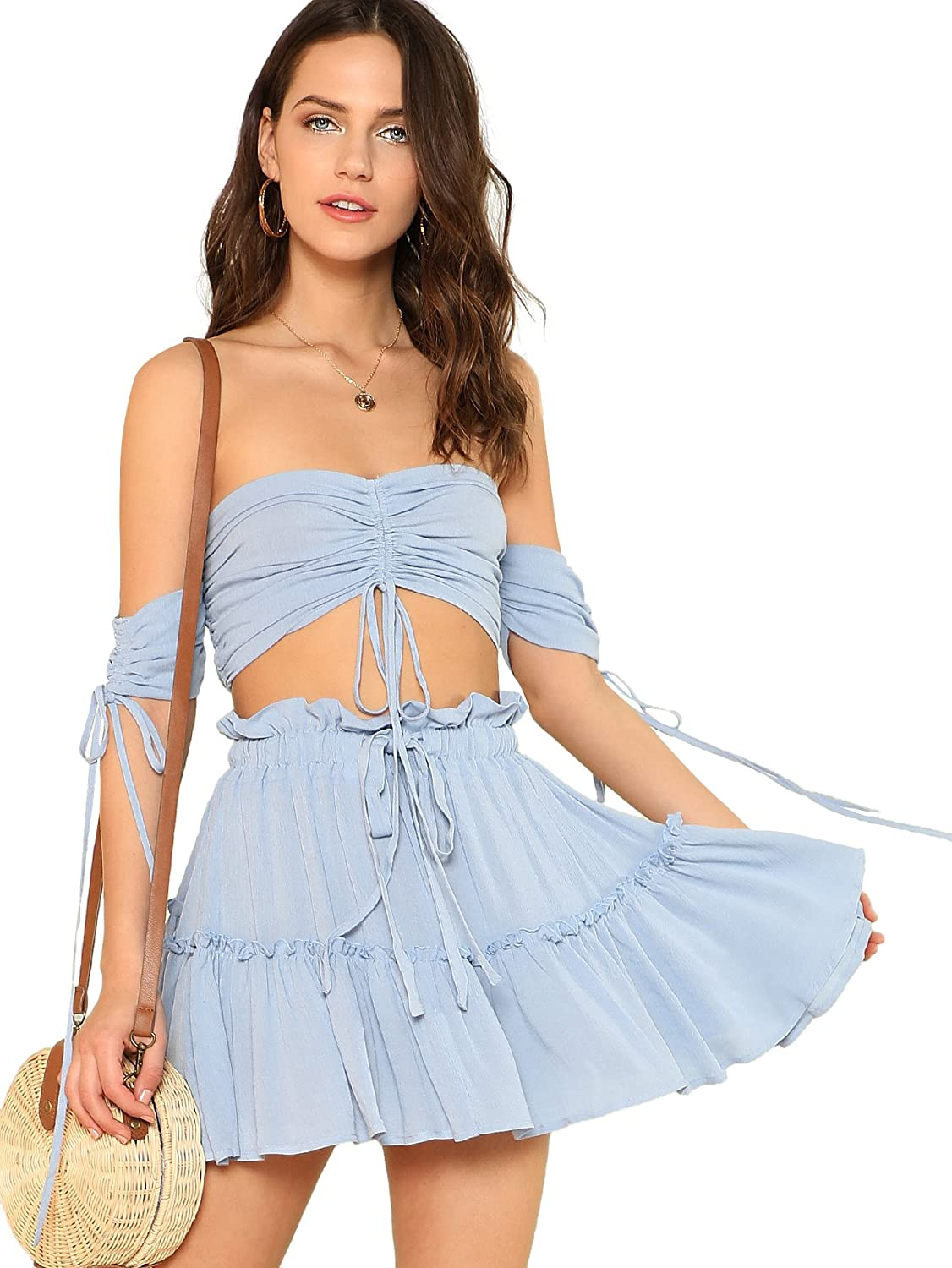 e86af4351c10 Floerns Women's Two Piece Outfit Off Shoulder Drawstring Crop Top and Skirt  Set at Amazon Women's Clothing store: