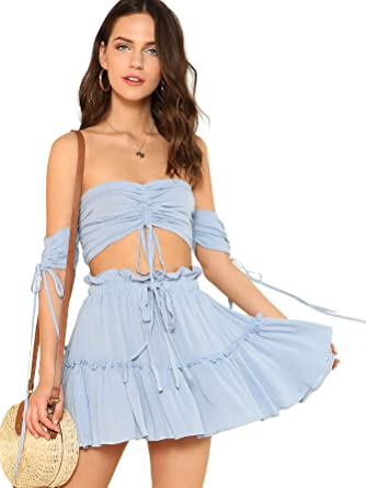 52dcfb88e43f85 Floerns Women's Two Piece Outfit Off Shoulder Drawstring Crop Top and Skirt  Set Blue XS