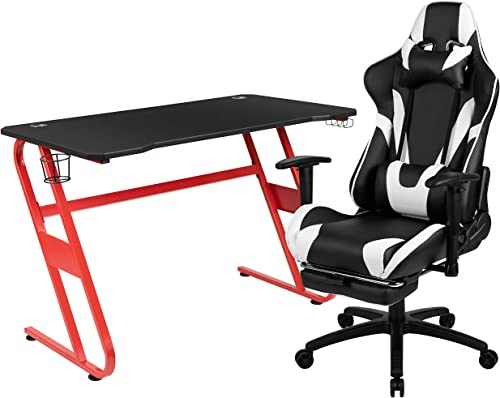 Flash Furniture Red Gaming Desk and Black Footrest Reclining Gaming Chair Set - a good cheap computer gaming chair