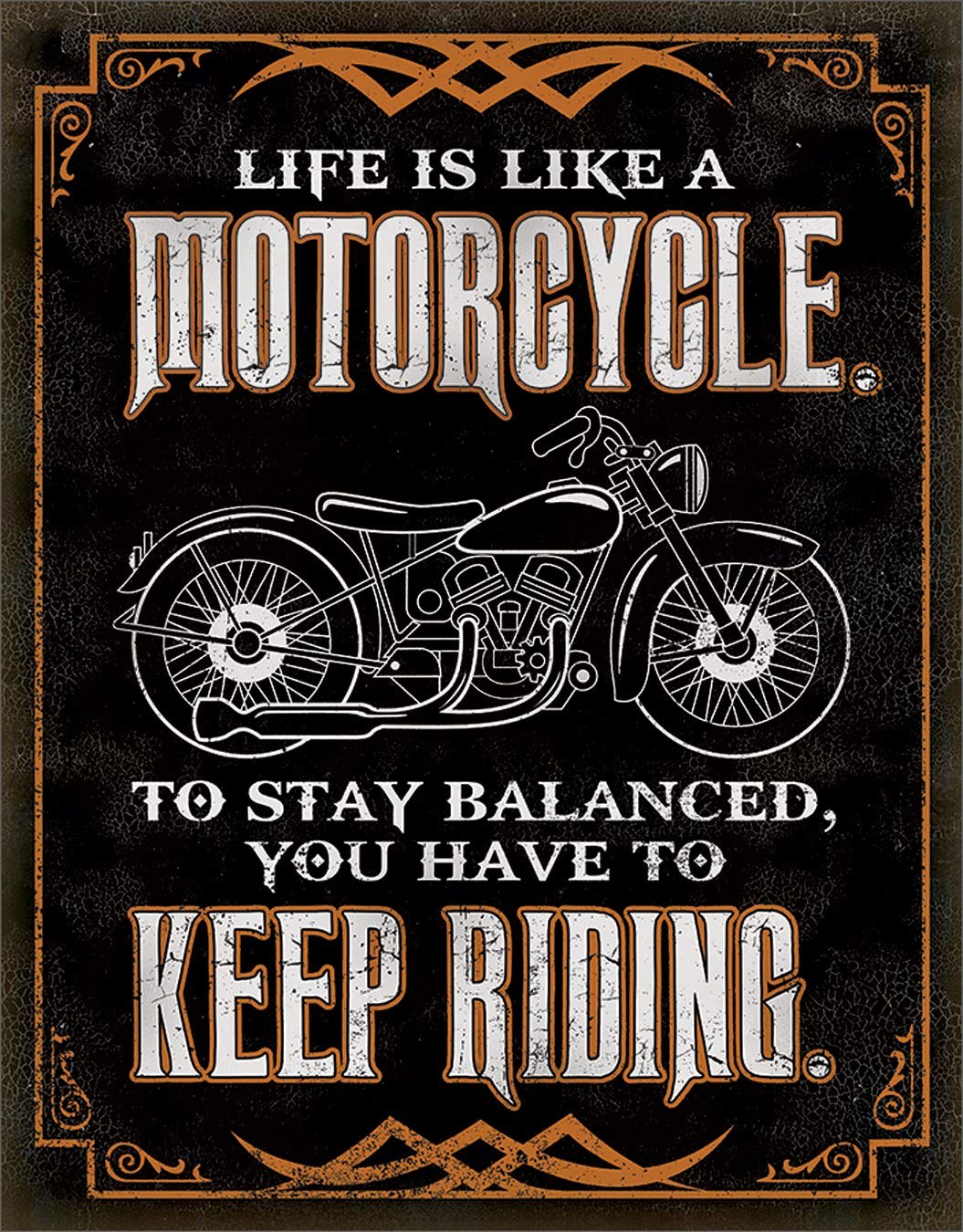 "Desperate Enterprises Life is Like A Motorcycle Tin Sign, 12.5"" W x 16"" H"