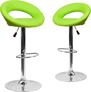 Flash Furniture 2 Pk. Contemporary Green Vinyl Rounded Orbit-Style Back Adjustable Height Barstool with Chrome Base