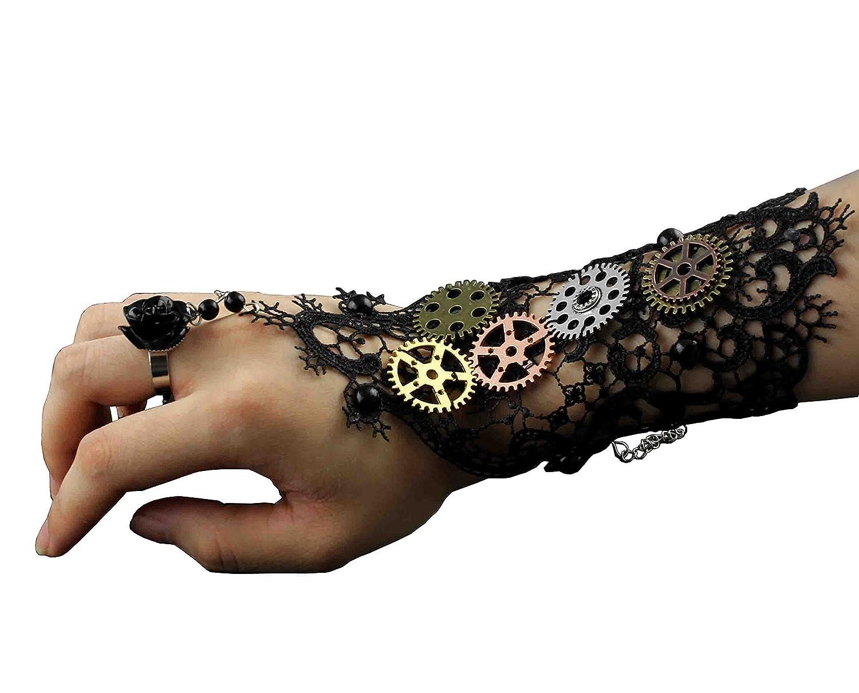 Womens Girls Steampunk Gears Lace Cuff Fingerless Gloves Black Threecattles