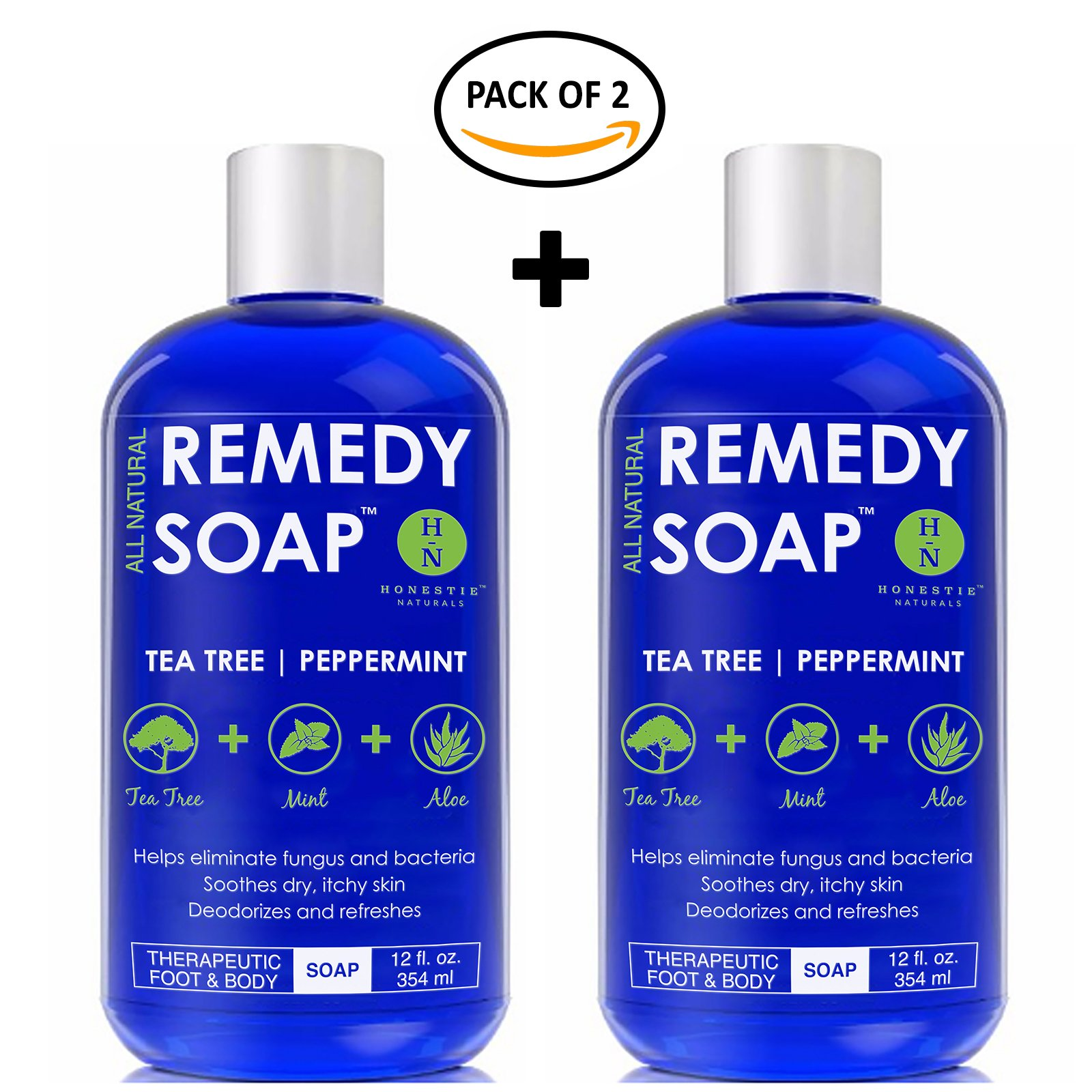 Remedy Antifungal Soap Pack of 2, Helps Wash Away Body Odor, Athlete's Foot, Nail Fungus, Ringworm, Jock Itch, Yeast Infections & Skin Irritations. 100% Natural with Tea Tree Oil, Mint & Aloe 12 oz