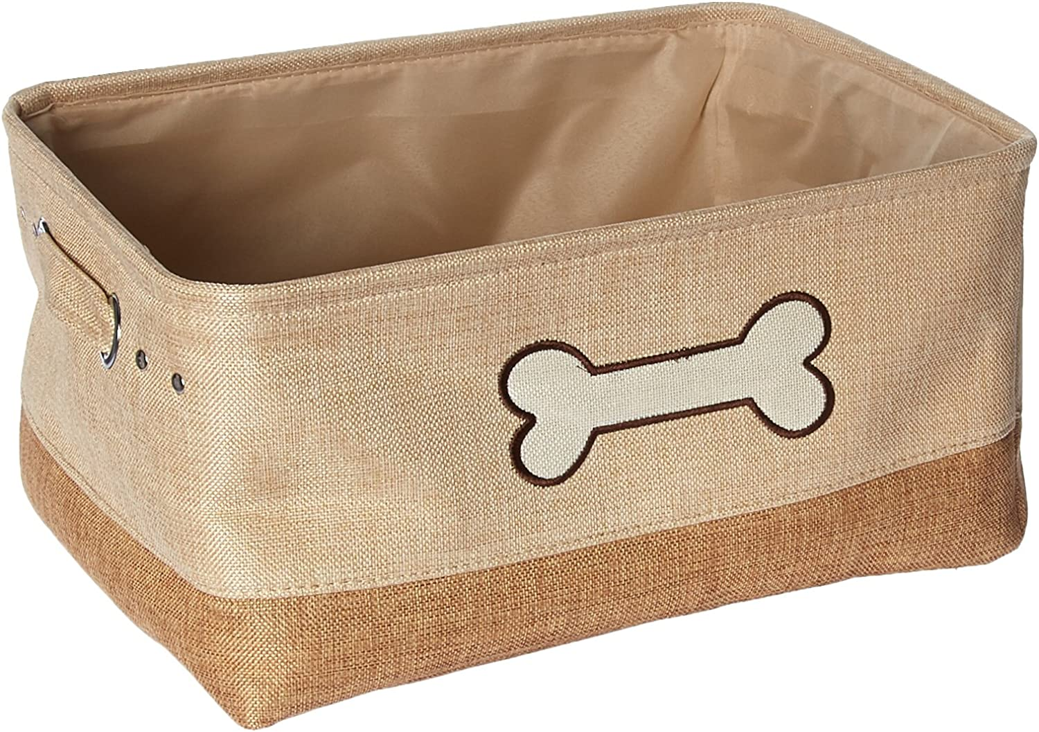 Winifred & Lily Pet Toy and Accessory Storage Bin, Organizer Storage Basket for Pet Toys, Blankets, Leashes and Food in Embroidered Dog Bone, Beige/Brown