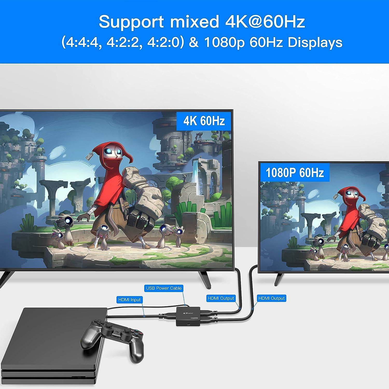 PORTTA HDMI Splitter 1 in 2 Out 4K@60Hz HDMI R/épartiteur 1x2 avec Automatique Scaling 4K 60Hz 4:4:4 4:2:2 4:2:0 to 1080P Prise en Charge HDMI2.0 HDCP 2.2 HDR10 Dolby Vision 18Gbps 3D